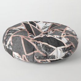 Modern Rose Gold Glitter Marble Geometric Triangle Floor Pillow