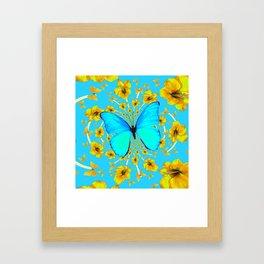 BLUE BUTTERFLY YELLOW AMARYLLIS PATTERNED ART Framed Art Print