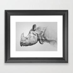 Rhino Art   Minimalism   Black and White Framed Art Print