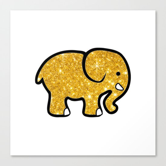 Gold Glitter Elephant Canvas Print