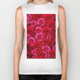 NATURE ART OF BED OF RED & PINK ROSE FLOWERS Biker Tank