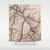 boston map Shower Curtains featuring Vintage Boston and Montreal Railroad Map (1887) by BravuraMedia