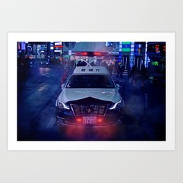 Tokyo Police Car in the fog Art Print
