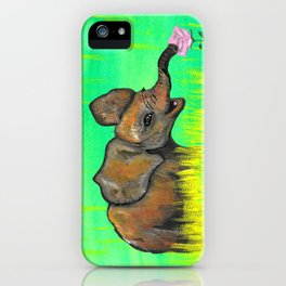 Baby elephant in the green fields smelling a pink rose by Jana Sigüenza iPhone Case