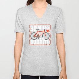 38 Miles Per Burrito, Cyclist Taco Bicycle, Dieting Workout, Biking Hobby Lifestyle Unisex V-Neck