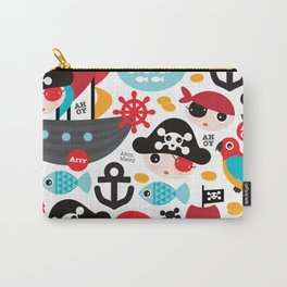 Cute kids pirate ship and parrot illustration pattern Carry-All Pouch