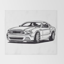 Classic american muscle car icon vector graphic design Throw Blanket