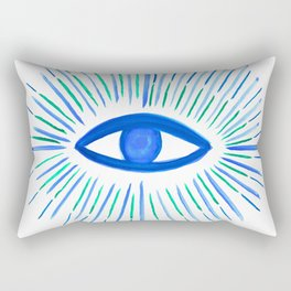 All Seeing Eye in Blue Watercolor Rectangular Pillow