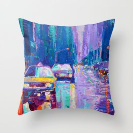 Streets of New York #2 - Palette Knife Contemporary Urban City Landscape by Adriana Dziuba Throw Pillow