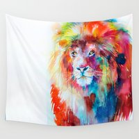 the lion king Wall Tapestries featuring Lion by Slaveika Aladjova