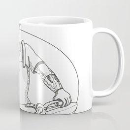 Farrier Wielding Hammer Oval Doodle Art Coffee Mug