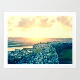Sunset at Katsuren Castle Art Print
