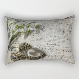 Snowdrops and Vintage Watches Rectangular Pillow