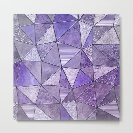 Purple Lilac Glamour Shiny Shimmering Patchwork Metal Print