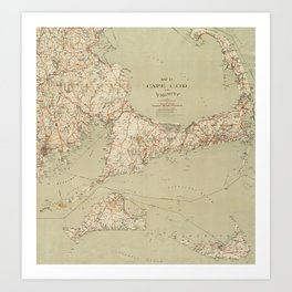 Beautiful 1909 Vintage Map of Cape Cod Art Print