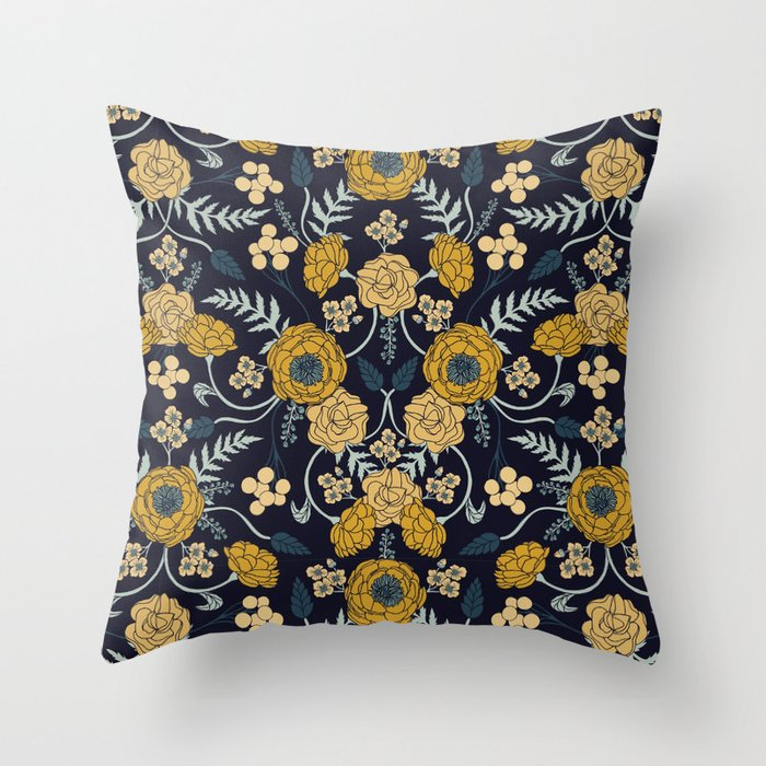 Navy Blue, Turquoise, Cream & Mustard Yellow Dark Floral Pattern Throw Pillow