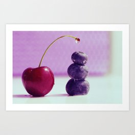 Food Design fresh Cherry and Bluebeeries Art Print