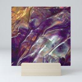 Abstract Rainbow Art - Crinkled Textured Purple / Gold / White Metallic Paint Mini Art Print
