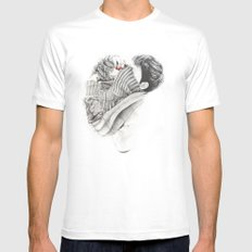 Pullover Attack White MEDIUM Mens Fitted Tee