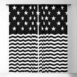 Stars & Waves (Black/White) Blackout Curtain