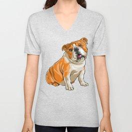 Bulldog Funny Pet Puppy Dog Lover Unisex V-Neck