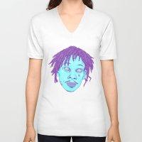 wiz khalifa V-neck T-shirts featuring WIZ by Mitch Meseke