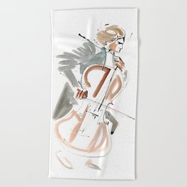Cello Player Musician Expressive Drawing Beach Towel