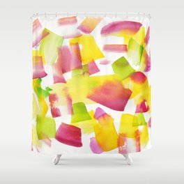 180719 Koh-I-Noor Watercolour Abstract 34| Watercolor Brush Strokes Shower Curtain