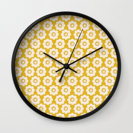 Canary Yellow Retro Floral Wall Clock