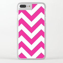 Large chevron pattern / deep pink Clear iPhone Case