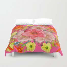 YELLOW PINK & CREAM DAYLILIES COLLAGE Duvet Cover