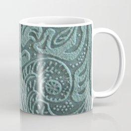 Sagey Teal Tooled Leather Coffee Mug