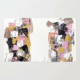 Modern abstract acrylic paint pink black gold salmon brushstrokes 2 parts Rug