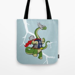 """Bronto""""THOR""""us - God of Thunder Lizards Tote Bag"""