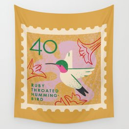 Hummingbird Postage Stamp Wall Tapestry