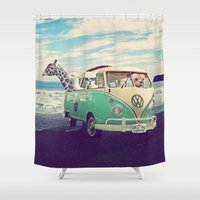 lama Shower Curtains featuring NEVER STOP EXPLORING THE BEACH by Monika Strigel