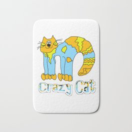 Crazy Cat Orange Bath Mat