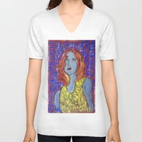 raven V-neck T-shirts featuring RAVEN by ART OF JAN