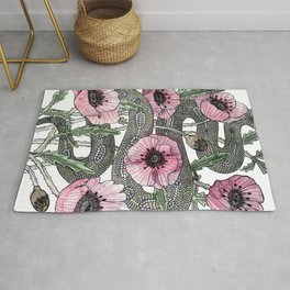 Snake and Poppies Rug