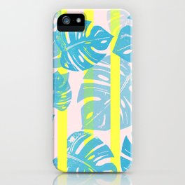 Linocut Monstera Neon iPhone Case