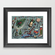 Vintage Christmas pattern Framed Art Print