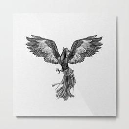 Phoenix Rising - Black and White Metal Print