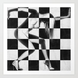 Survive Nude Woman Checkered 4 Art Print