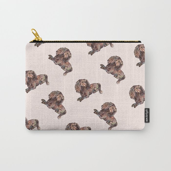 Dog Pattern 2 on Girly Pink Carry-All Pouch