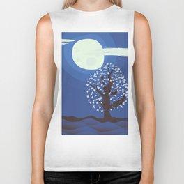 Tree in the moonlight Biker Tank