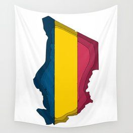 Chad Map with Chadian Flag Wall Tapestry