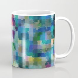 geometric square pixel pattern abstract in blue green pink yellow Coffee Mug