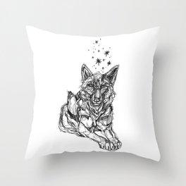 Star Wolf Throw Pillow