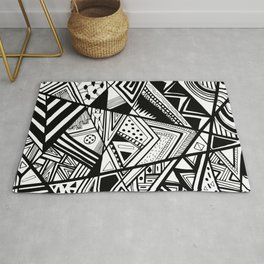 Black and White Doodle Rug