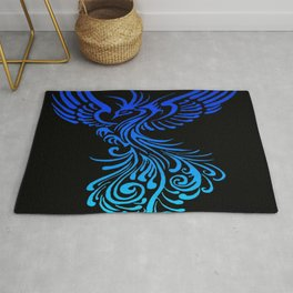 Rising From The Ashes Phoenix Blue Aqua Ombre Rug